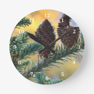 マツ円錐形の森林自然場面 ラウンド壁時計