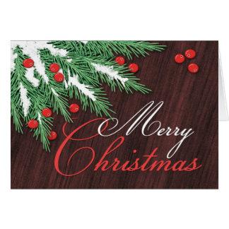 マツ大枝およびクランベリーのクリスマスカード カード