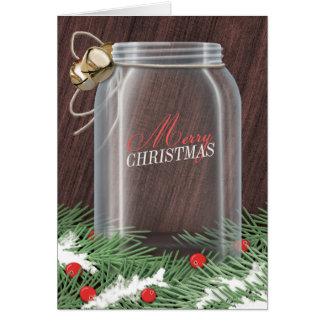 マツ大枝の素朴なメーソンジャーのクリスマスカード カード