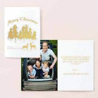 マツ森の森林トナカイの写真のメリークリスマス 箔カード