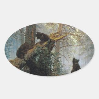 マツ森林のイヴァンShishkinの朝 楕円形シール