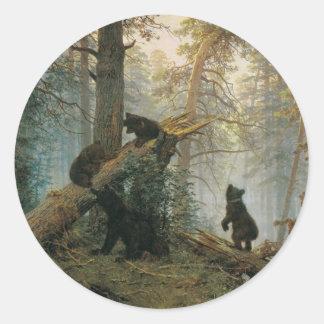 マツ森林の朝 ラウンドシール