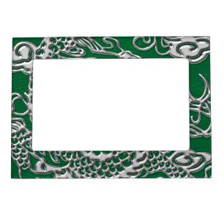 マツ緑の革質の銀製のドラゴン マグネットフレーム