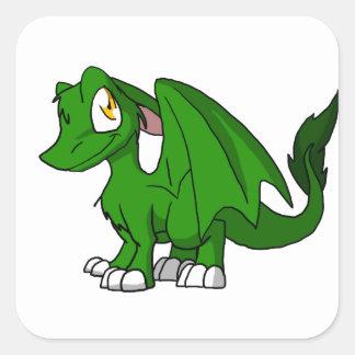 マツ緑SD毛皮で覆われたドラゴン スクエアシール