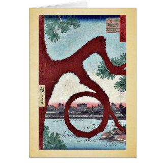 マツ、AndoのHiroshigeの浮世絵によるUenoをうろついて下さい カード