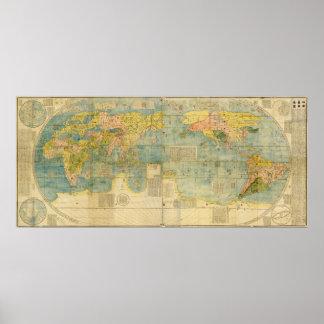 マテオ・リッチ著Kunyu Wanguo Quantuの地図 ポスター