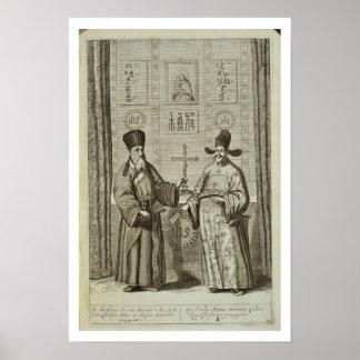 マテオ・リッチ(1552-1610年)および「ChinからのPaulus李、 ポスター