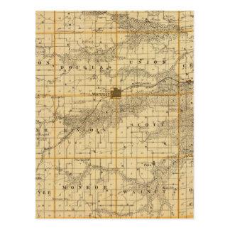 マディソン郡、アイオワ州の地図 ポストカード