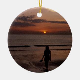 マデイラのビーチの日没 セラミックオーナメント