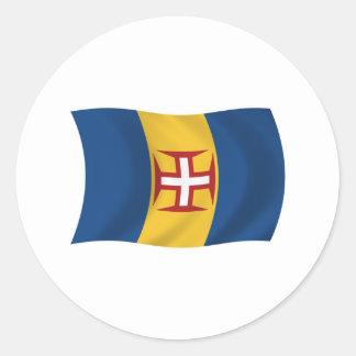 マデイラの旗のステッカー ラウンドシール