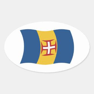 マデイラの旗のステッカー 楕円形シール