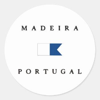 マデイラポルトガルのアルファ飛び込みの旗 ラウンドシール