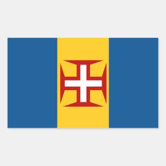 マデイラポルトガルの旗のステッカー 長方形シール