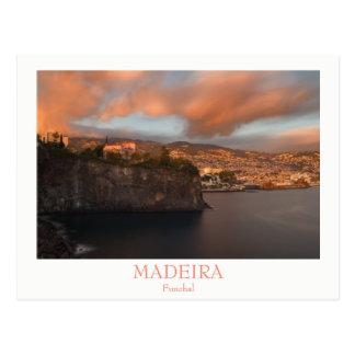 マデイラ-文字が付いているフンシャルの郵便はがきの都市 ポストカード