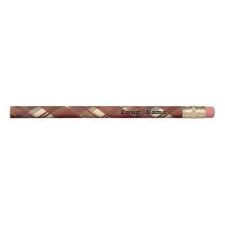 マドラスの格子縞の秋の赤 鉛筆