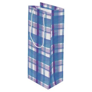 マドラスの格子縞の青および紫色 ワインギフトバッグ