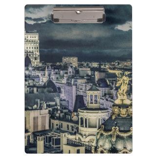 マドリードの都市景観夜場面空中写真 クリップボード