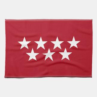 マドリードスペインの(地方)旗 キッチンタオル