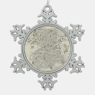 マドリードスペイン(1831年)のヴィンテージの地図 スノーフレークピューターオーナメント