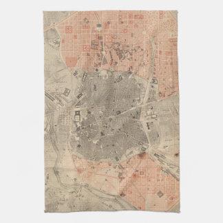 マドリードスペイン(1861年)のヴィンテージの地図 キッチンタオル
