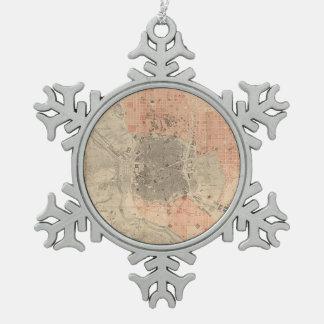マドリードスペイン(1861年)のヴィンテージの地図 スノーフレークピューターオーナメント