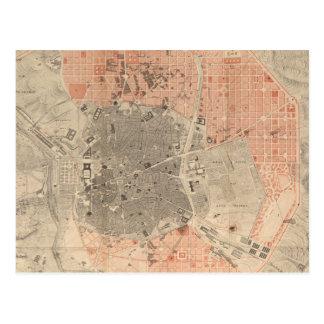 マドリードスペイン(1861年)のヴィンテージの地図 ポストカード