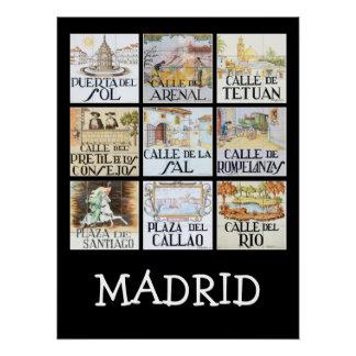 マドリード、スペインからの道路標識のコレクション ポスター