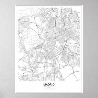 マドリード、スペインの最小主義の地図ポスター ポスター