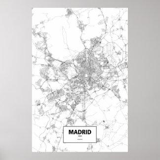 マドリード、スペイン(白の黒) ポスター