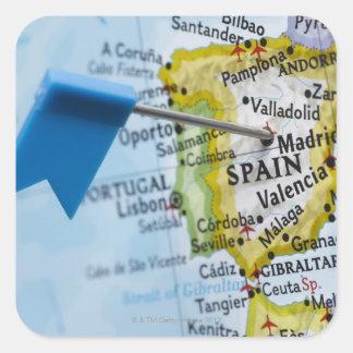 マドリード、地図、クローズアップのスペインに置かれるピンの地図を描いて下さい スクエアシール