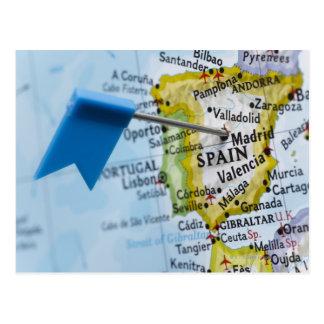 マドリード、地図、クローズアップのスペインに置かれるピンの地図を描いて下さい ポストカード