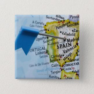 マドリード、地図、クローズアップのスペインに置かれるピンの地図を描いて下さい 5.1CM 正方形バッジ