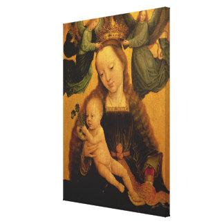 マドンナおよび子供は2つの天使、c.1520によって戴冠しました キャンバスプリント