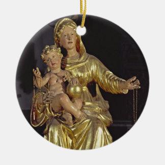 マドンナおよび子供、17世紀(金めっきされた木) セラミックオーナメント