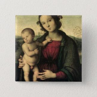 マドンナおよび子供、c.1495 5.1cm 正方形バッジ