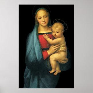 マドンナおよび子供、Raphaelによるマドンナdel Granduca ポスター