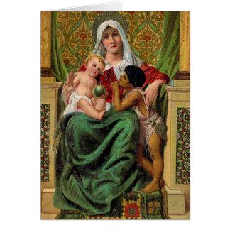 マドンナのベビーのイエス・キリストのヴィンテージのクリスマスカード カード