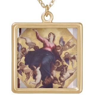 マドンナは天使(天井のフレスコ画)によって運びました ゴールドプレートネックレス