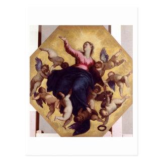 マドンナは天使(天井のフレスコ画)によって運びました ポストカード