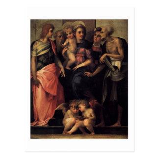 マドンナは4人の聖者の郵便はがきと即位しました ポストカード