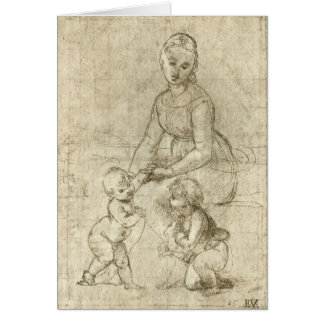 マドンナwキリスト及び聖ヨハネRapahel著バプテスト カード