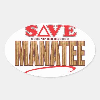 マナティーの保存 楕円形シール