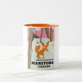 マニトバカナダのヴィンテージのスタイル旅行ポスター ツートーンマグカップ