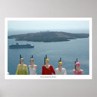マネキン、遊航船および火山 ポスター
