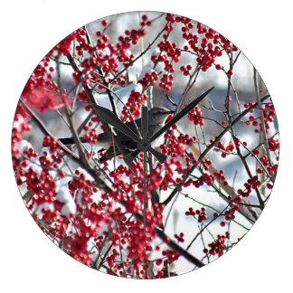 マネシツグミおよび果実 ラージ壁時計