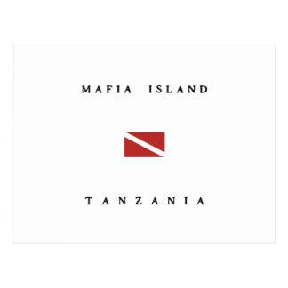 マフィアの島のタンザニアのスキューバ飛び込みの旗 ポストカード