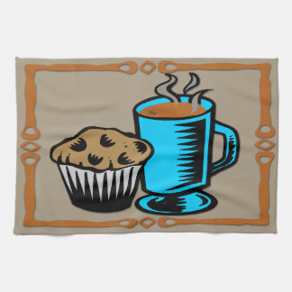マフィンのデザインの台所タオルが付いているコーヒー キッチンタオル
