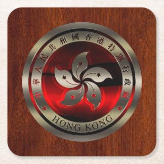 マホガニーのプリントの香港のシール スクエアペーパーコースター