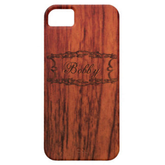 マホガニーの木製のプリントの名前のテンプレート iPhone SE/5/5s ケース