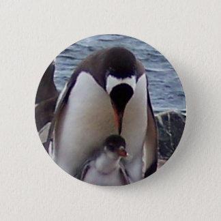 ママおよびベビーのペンギン 5.7CM 丸型バッジ